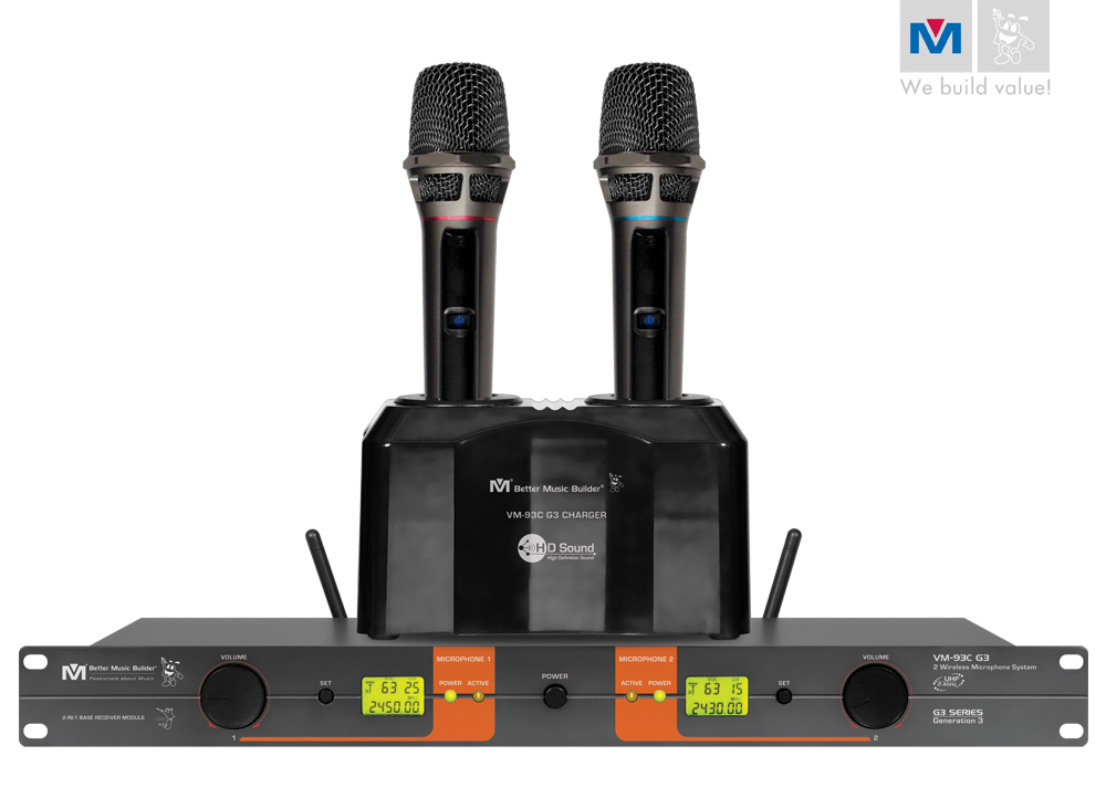 vm 93c g3 pro uhf rechargeable wireless microphone system discontinued better music builder. Black Bedroom Furniture Sets. Home Design Ideas
