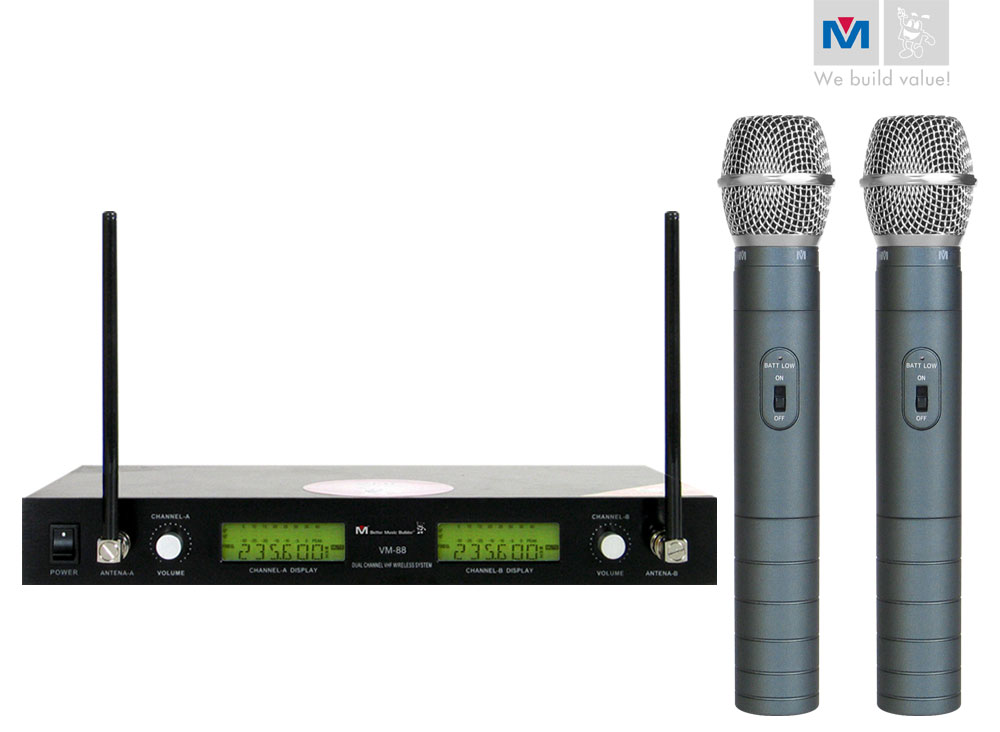 vm 88 dual channel rechargeable wireless microphone system better music builder. Black Bedroom Furniture Sets. Home Design Ideas