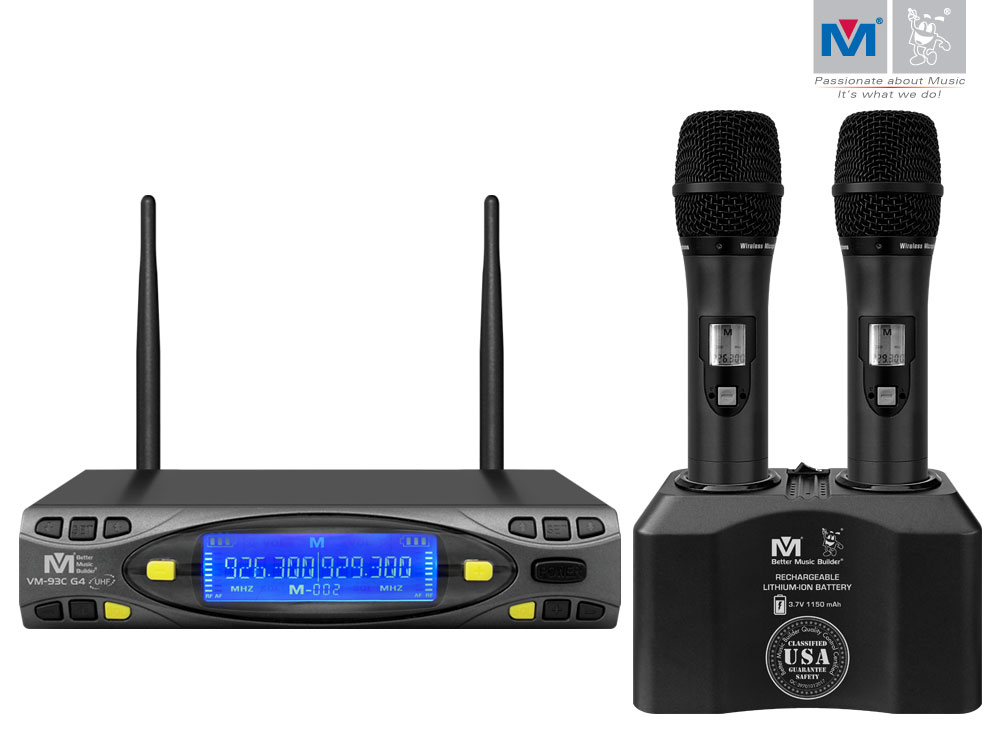 vm 93c g4 pro uhf rechargeable wireless microphone system better music builder. Black Bedroom Furniture Sets. Home Design Ideas
