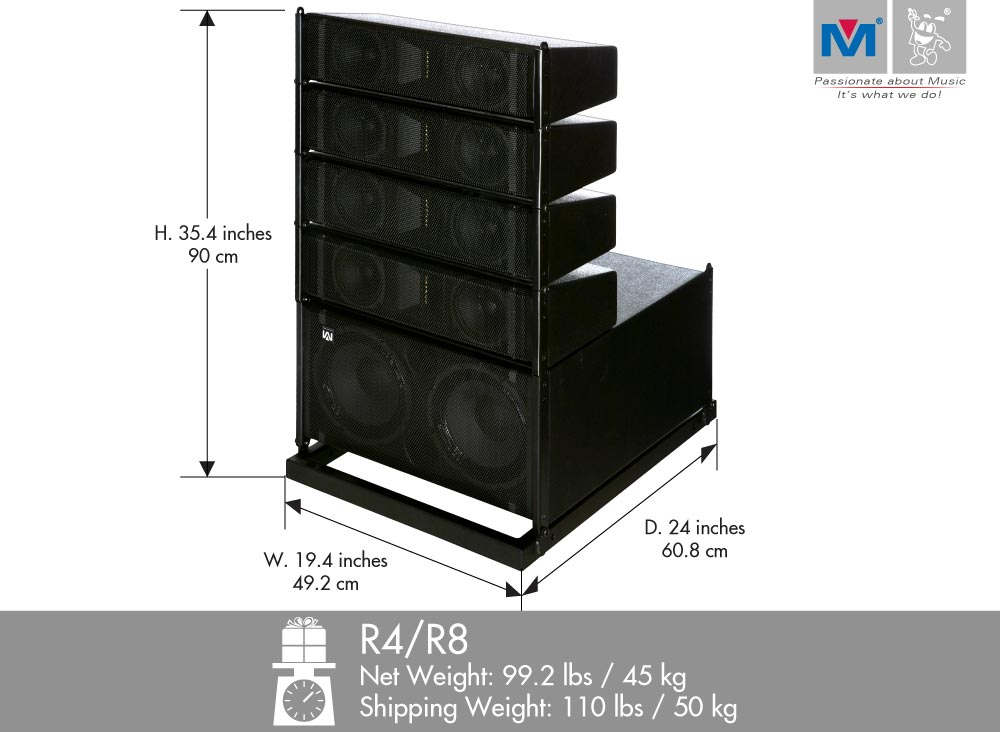 R4 R8 Compact Active Line Array Speakers 1100 Watts