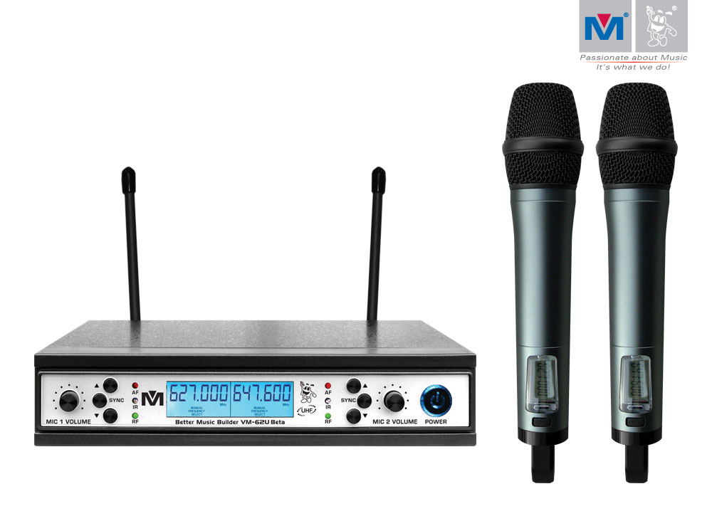 vm 62u beta dual channel uhf wireless microphone system better music builder. Black Bedroom Furniture Sets. Home Design Ideas